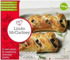 Linda McCartney Red Onion & Rosemary Sausage Plaits (Rollback Deal) (2 per pack - 340g) was £2.00 now 98p @ Asda