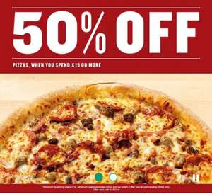 50% off papa johns pizza if you spend £15