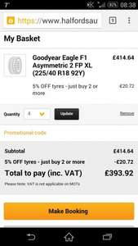 goodyear eagle f1 225 40 18 x 4 - £393 @ Halfords autocentre