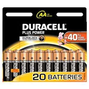 Duracell AA 20 Pack Plus Power Batteries £5.99 @ B&M