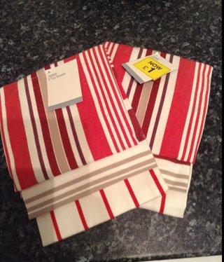 3pk 100% Cotton Tea Towels £1 @  Tesco