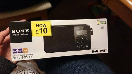 Sony XDR-S40DBP DAB/FM Radio (white) £10 @ Tesco