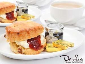 Drucker's Vienna Patisserie Scones & Pot of Tea or Coffee (Including Latte, Cappuccino or Americano) For Two People £5 @ Amazon Local
