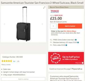 Half price sale on Tesco Suitcases £25