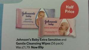johnson's baby extra sensitive & gentle cleansing wipes (56 pack) only 89p available in tesco from 14th jan