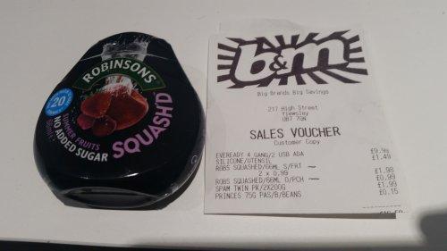 Robinsons Squash'd for 99p @ B&M