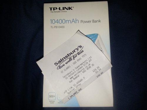 TP-Link TL-PB10400 10400mAh Power Bank was £24.99 £16.65 @ Sainsburys