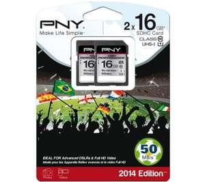 PNY High Performance Class 10 SD Memory Card - 16 GB, Twin Pack £4.37 at PC World (Web Exclusive Price)