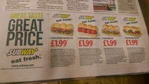 6 inch Subway sandwich for £1.99 coupons at Today's Metro