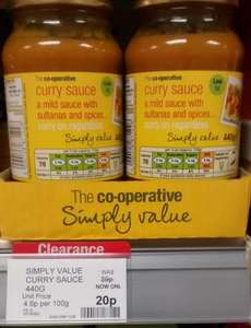 co-op curry  mild sauce with sultanas and spices - 20p instore