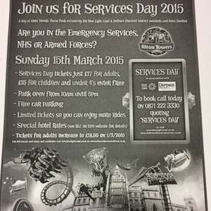 Alton Towers £17 for Emergency Services, Armed Forces or NHS 15th March
