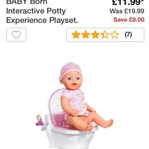 Baby born interactive potty white £11.99 @ argos