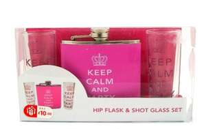 Hip Flask and shot glasses various designs only 10p @ B&M Bargains instore