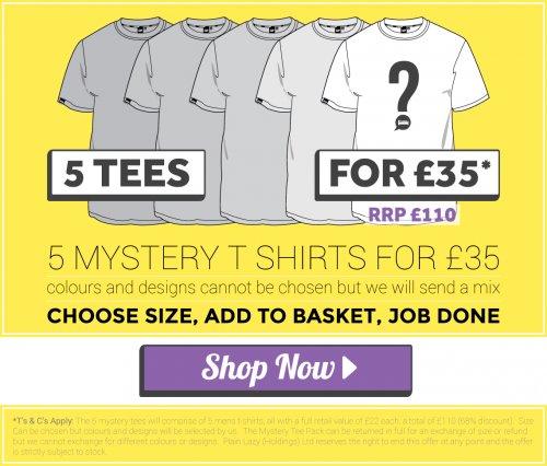 5 MYSTERY TEES FOR £35 @ plainlazy