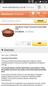 sainsburys cookware - Terracotta dish £1.60 in store @ Sainsburys