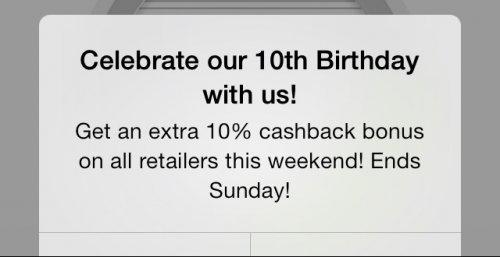 Extra 10% of the cashback amount with Topcashback