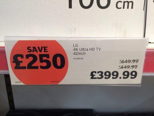 """LG 4K 42"""" TV £399.99 instore @ Sainsbury's"""