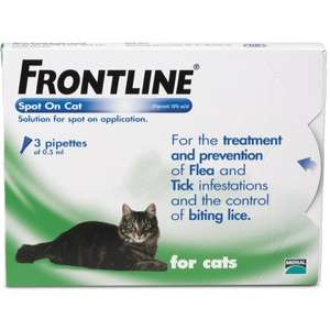 Frontline for Cats 6x. 0.5 pipettes was 21.99 now £10.50 + £3.00 delivery (free delivery on a £30 spend) at Waitrosepet.com