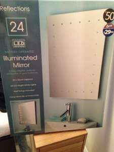 Reflections large illuminated (battery operated) bathroom mirror £29.99 at B&M Bargains! No wires no mess!