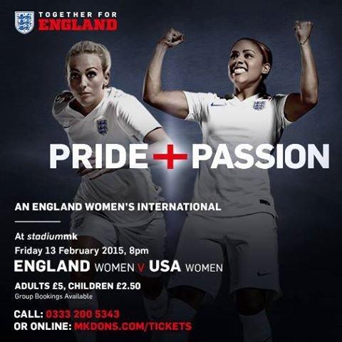 England Ladies v USA Ladies International football family of 4 tickets £10.00