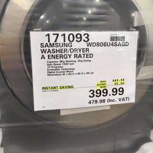 Samsung wd806u4sagd washer dryer £399.99 @ Costco