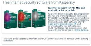 Free Kaspersky Internet Security for Barclays Online Customers/Normal price £35.99