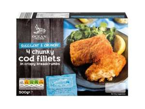 OCEAN TRADER (4) Chunky Cod Fillets (Crispy Breadcrumbs or Crunchy Batter) (500g) ONLY £1.69 @ Lidl