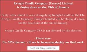 50% Off Everything on Kringle Candle Site (Closing Down)