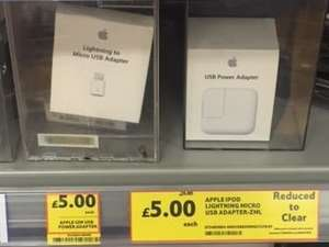 Genuine Apple 12w USB Power Adapter & Lightning to Micro USB Adapter £5 @ Tesco