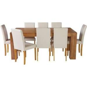 Indiana Oak Dining Table and 8 Cream Midback Chairs £99.99 @ Argos