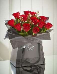 12 red roses and free chocolates and delivery - Valentines Day £25 (£24.25) via Quidco) @ M&S