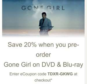 Gone Girl - DVD £8.00  or Blu-Ray £10.40 20% OFF! @ Tesco Direct