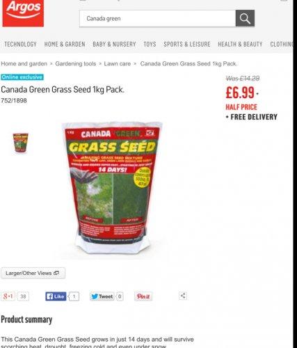 Canada Green 1KG Grass Seed £6.99 @ Argos