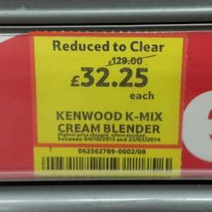 Kenwood K-Mix Blender in Cream £32.25 @ Tesco