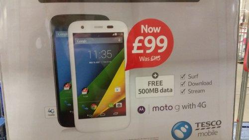 Tesco Mobile Motorola Moto G™ + 4G White/Black £99 @ Tesco Direct + instore (starts Monday)