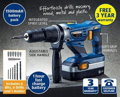 24v Cordless Hammer Drill and bits Aldi 5 Feb £39.99