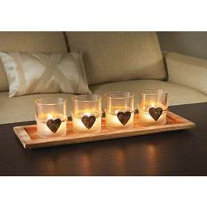 B&M Bargains Wooden Heart Candle Set of 4 wooden hearts  tray £0.10