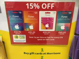 15% off gift cards in Morrisons plus money off fuel
