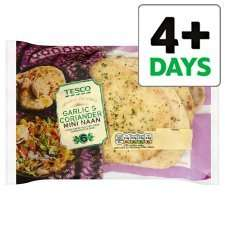 Tesco 12 Garlic And Coriander Mini Naan Bread Tesco, £1.50