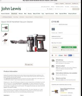 Dyson dc30 £119.95 @ John Lewis