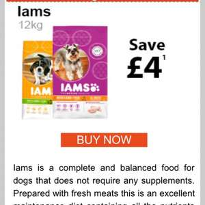IAMS dog food £4 off 12kg bags £18.45 @ PetMeds