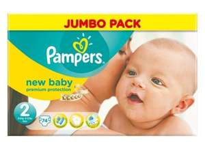 Pampers New Baby Size 2 (Mini) Jumbo Pack - 74 Nappies £5.24 plus £6.01 P&P  (free delivery £10 spend/prime) or £4.98 via S&S @ Amazon