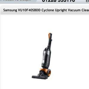 Samsung VU10F40SBDD CYCLONE UPRIGHT VACUUM CLEANER £99 @ petertysonappliances