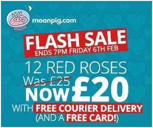 Moonpig Valentines bouquets - 12 Red Roses was £25 NOW £20 + Free Delivery + Free Card!