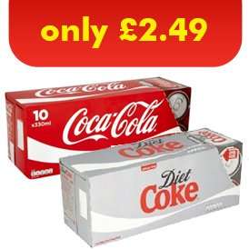 Coca Cola or Diet Coke (330ml) 10 pack ONLY £2.49 @ One Stop Stores