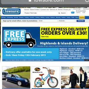 Free Express Delivery over £30 spend @ Towsure.com until 13th Feb