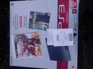 ps3 320gb with uncharted 3 + bluray. bought this morning £89.99 at Tesco springhill Bangor. NI