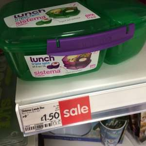 Sistema triple split lunch box BPA free 2L £1.50 @ Asda