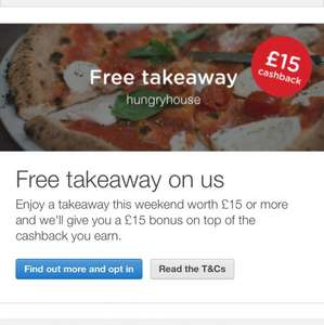 Free meal at hungry house via quidco £15 plus 4% cashback (selected users)