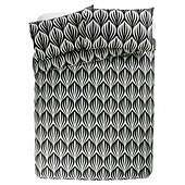 Tesco Ogee Geo DOUBLE  Print Duvet Cover And Pillowcase Set Black and White £4.80 @ TESCO